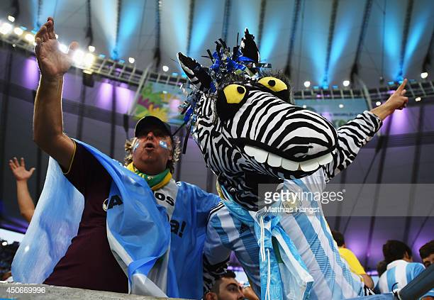 Argentina fans show support prior to the 2014 FIFA World Cup Brazil Group F match between Argentina and BosniaHerzegovina at Maracana on June 15 2014...