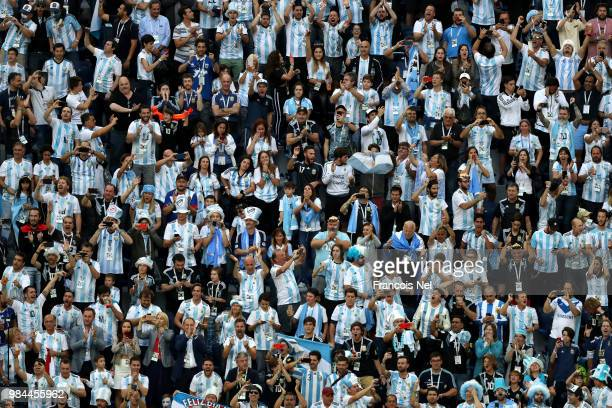 Argentina fans show their support during the 2018 FIFA World Cup Russia group D match between Nigeria and Argentina at Saint Petersburg Stadium on...