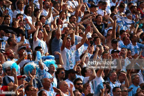 Argentina fans show their support during the 2018 FIFA World Cup Russia Round of 16 match between France and Argentina at Kazan Arena on June 30 2018...