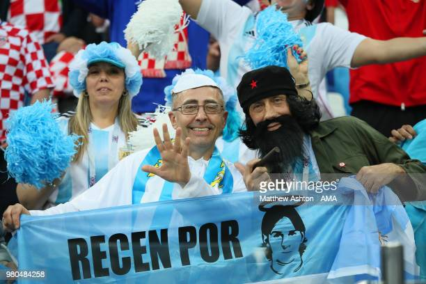 Argentina fans show their support prior to the 2018 FIFA World Cup Russia group D match between Argentina and Croatia at Nizhny Novgorod Stadium on...