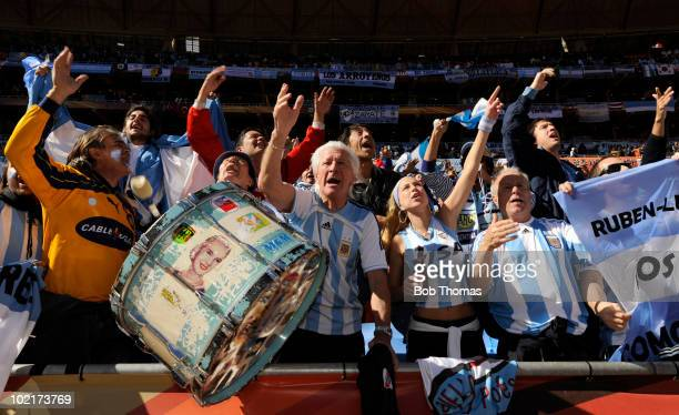 Argentina fans support their team before the start of the 2010 FIFA World Cup South Africa Group B match between Argentina and South Korea at Soccer...