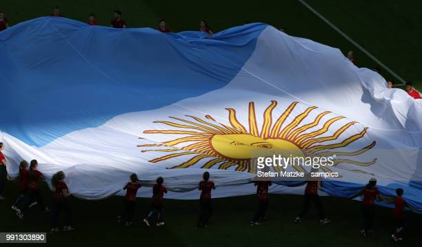 Argentina Flag during the 2018 FIFA World Cup Russia Round of 16 match between France and Argentina at Kazan Arena on June 30 2018 in Kazan Russia