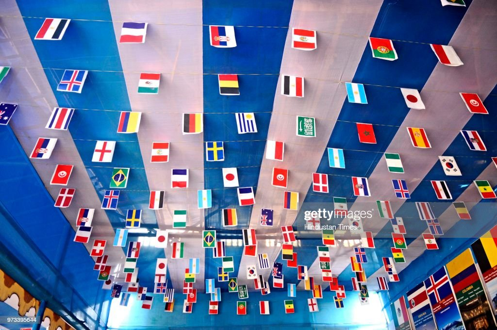 Argentina football fans club decorate their club premises with flags of 32 countries, cut-outs, and some icon footballers clay idol to celebrate upcoming Football World Cup in Russia from tomorrow at Ganguly Bagan, on June 13, 2018 in Kolkata, India. The City of Joy, Kolkata is also known as Mecca of Indian Football.