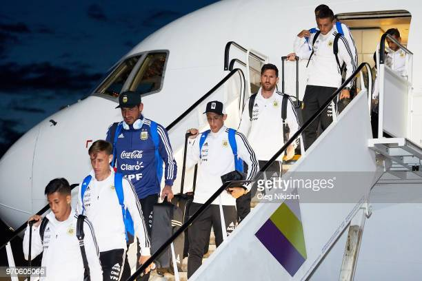 Argentina football team arrive to compete in the 2018 World Cup at Zhukovsky airport on June 9 2018 in Moscow Russia