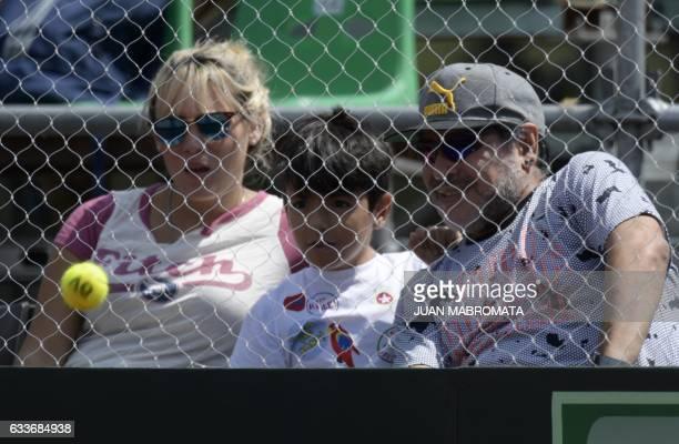 Argentina former footballer Diego Maradona his girlfriend Rocio Oliva and his grand son Benjamin Aguero attend the 2017 Davis Cup World Group first...