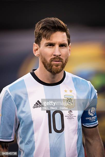 Argentina forward and Captain Lionel Messi during the Copa America Centenario Final Argentna vs Chile Soccer, 2016 on June 26, 2016 at Met Life in...
