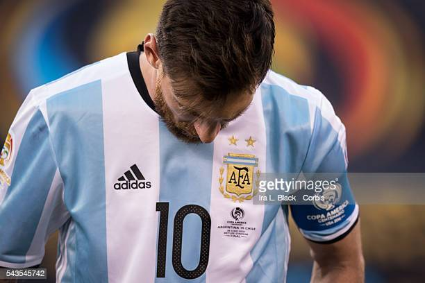 Argentina forward and Captain Lionel Messi during the Copa America Centenario Final Argentna vs Chile Soccer 2016 on June 26 2016 at Met Life in East...