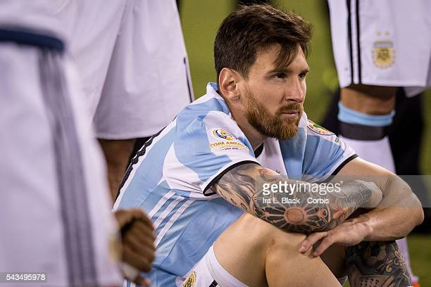 Argentina forward Lionel Messi waits to accept the 2nd place finish during the Copa America Centenario Final Argentina vs Chile Soccer 2016 on June...