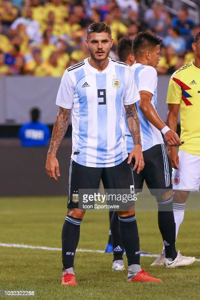 Argentina forward Mauro Icardi during the first half of the International Friendly Soccer game between Argentina and Colombia on September 11 2018 at...