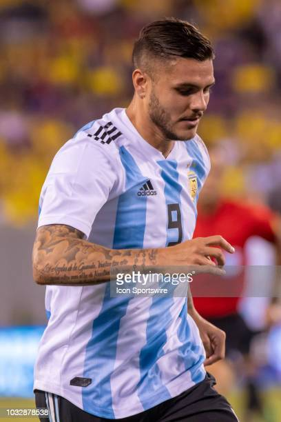 Argentina forward Mauro Icardi during the first half of the International Friendly Soccer match between Argentina and Colombia on September 11 2018...