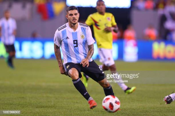 Argentina forward Mauro Icardi during the second half of the International Friendly Soccer game between Argentina and Colombia on September 11 2018...