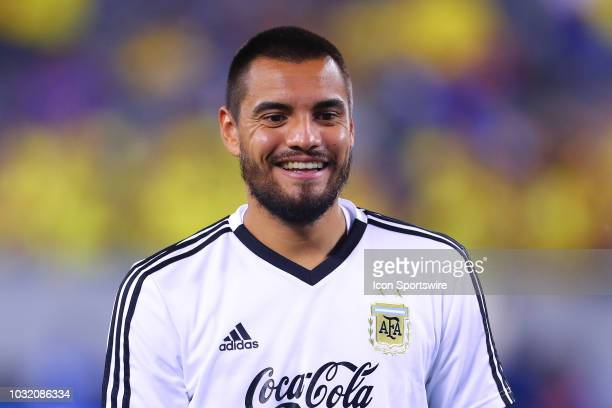 Argentina goalkeeper Sergio Romero prior to the International Friendly Soccer game between Argentina and Colombia on September 11 2018 at MetLife...
