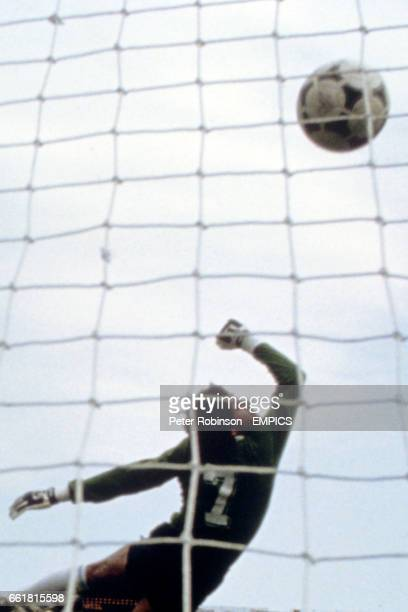 Argentina goalkeeper Ubaldo Fillol is beaten by a freekick which thumped against the bar