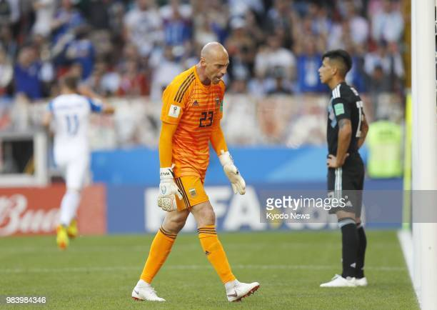 Argentina goalkeeper Wilfredo Caballero expresses frustration after conceding a goal during a World Cup Group D match against Iceland at Spartak...