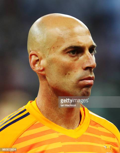 Argentina goalkeeper Wilfredo Caballero is seen during the 2018 FIFA World Cup Russia group D match between Argentina and Croatia at Nizhny Novgorod...
