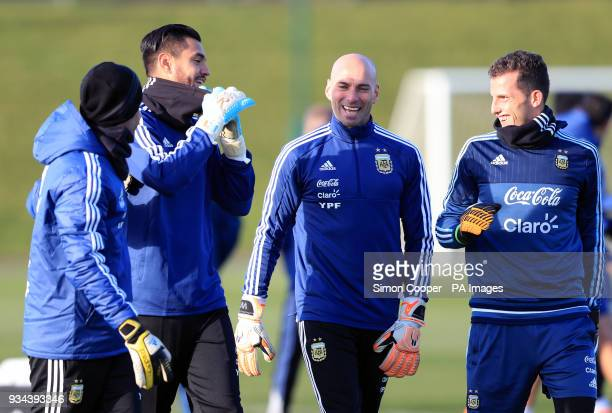 Argentina goalkeepers Sergio Romero and Willy Caballero during a training session at the City Football Academy Manchester