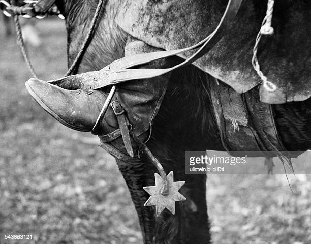 Argentina Gouchos taming wild horses series spurs on boots of a goucho Photographer Willi Ruge undatedVintage property of ullstein bild