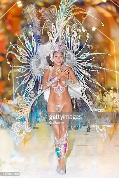 argentina gualeguaychu female samba dancer dancing at carnival - argentina traditional clothing stock photos and pictures