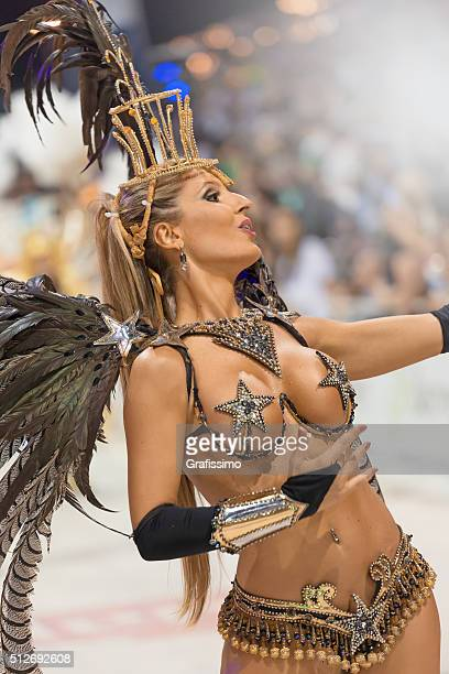 argentina gualeguaychu samba dancer dancing at carnival - argentina traditional clothing stock photos and pictures