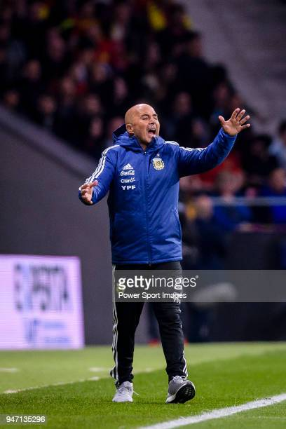 Argentina Head Coach Jorge Sampaoli gestures during the International Friendly 2018 match between Spain and Argentina at Wanda Metropolitano Stadium...