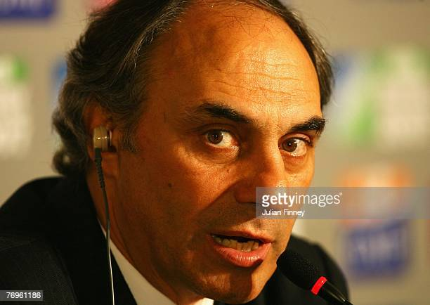 Argentina Head Coach Marcelo Loffreda answers questions from the media following Match Twenty Six of the Rugby World Cup 2007 between Argentina and...