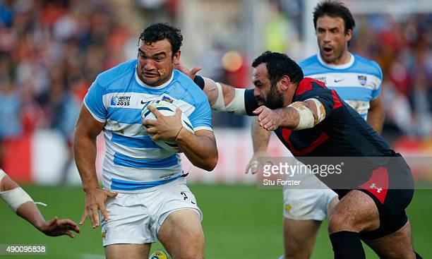 Argentina hooker Agustin Creevy in action during the 2015 Rugby World Cup Pool C match between Argentina and Georgia at Kingsholm Stadium on...
