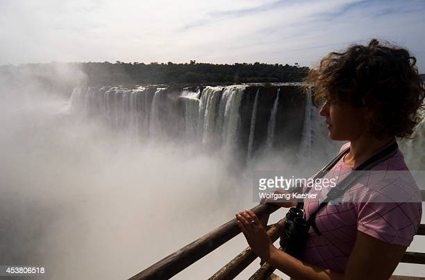 Argentina Iguassu National Park Iguassu Falls Tourist At Devils Throat