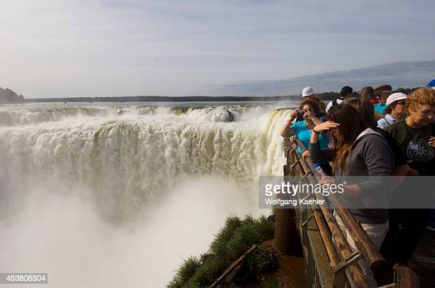 Argentina Iguassu National Park Iguassu Falls Tourists At Devils Throat