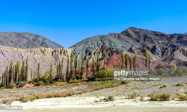 argentina landscape of northern rock formations in quebrada de humahuaca, jujuy. - cerro de los siete colores foto e immagini stock