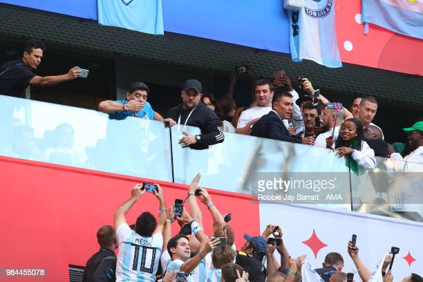 Argentina legend Diego Maradona blows a kiss as fans react prior to the 2018 FIFA World Cup Russia group D match between Nigeria and Argentina at...