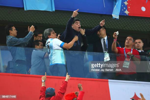 Argentina legend Diego Maradona celebrates after Marcos Rojo of Argentina scored a goal to make it 12 during the 2018 FIFA World Cup Russia group D...