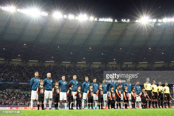 Argentina line up during the Copa America Brazil 2019 group B match between Argentina and Paraguay at Mineirao Stadium on June 19, 2019 in Belo...