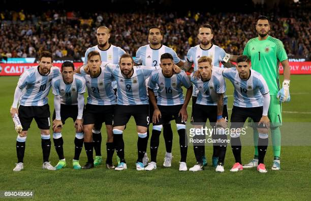 Argentina line up for the Brazil Global Tour match between Brazil and Argentina at Melbourne Cricket Ground on June 9 2017 in Melbourne Australia