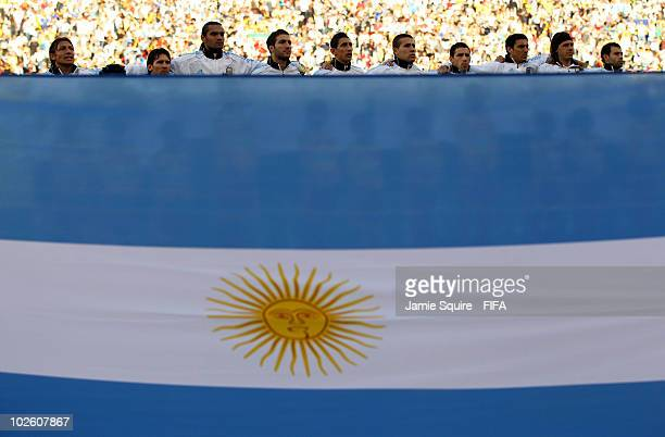 Argentina line up for the national anthem ahead of the 2010 FIFA World Cup South Africa Quarter Final match between Argentina and Germany at Green...