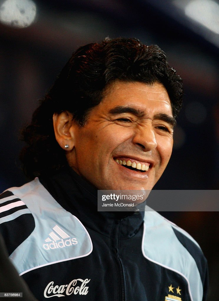 Argentina manager Diego Maradona looks on during the International Friendly match between Scotland and Argentina at Hampden Park on November 19, 2008 in Glasgow, Scotland.