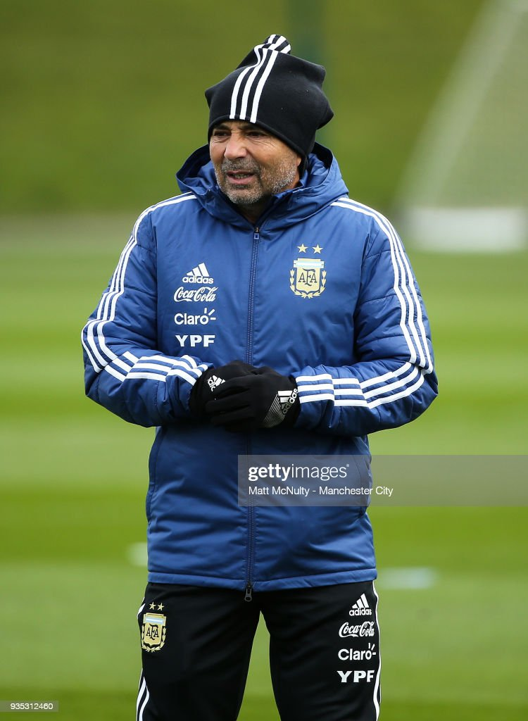 Argentina manager Jorge Sampaoli during the training session at Manchester City Football Academy on March 20, 2018 in Manchester, England.