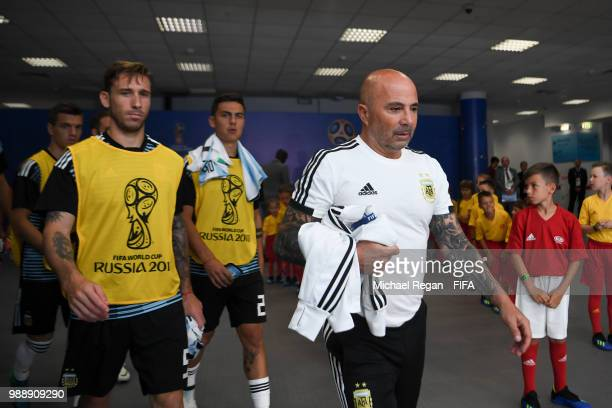 Argentina manager Jorge Sampaoli looks on in the tunnel before the 2018 FIFA World Cup Russia Round of 16 match between France and Argentina at Kazan...