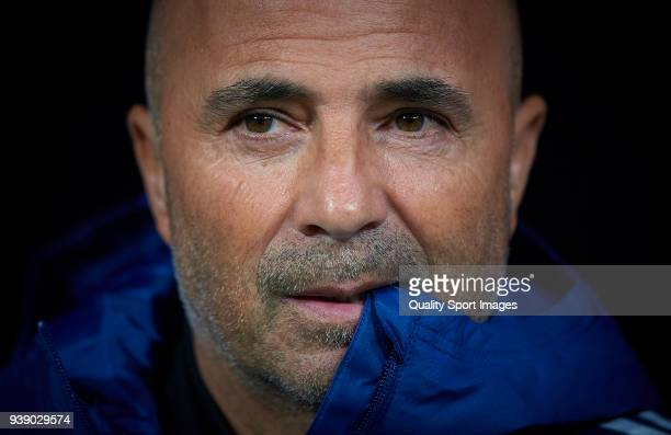 Argentina manager Jorge Sampaoli looks on prior the International friendly match between Spain and Argentina at Metropolitano Stadium on March 27...
