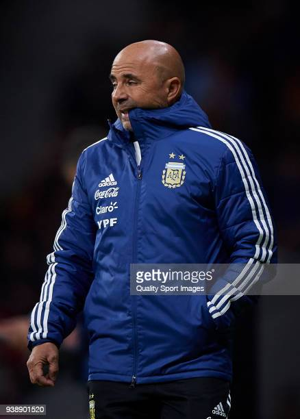 Argentina manager Jorge Sampaoli reacts during the International friendly match between Spain and Argentina at Metropolitano Stadium on March 27 2018...