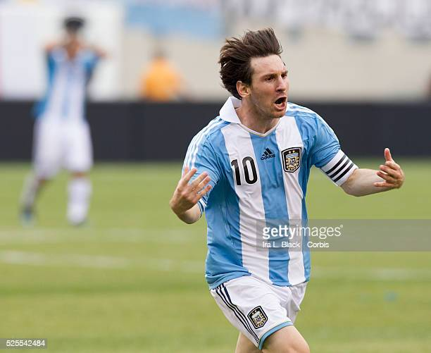 Argentina National Team Captain Lionel Messi celebrates his 3rd goal during the Clash of the Titans match between Argentina and Brazil National Teams...