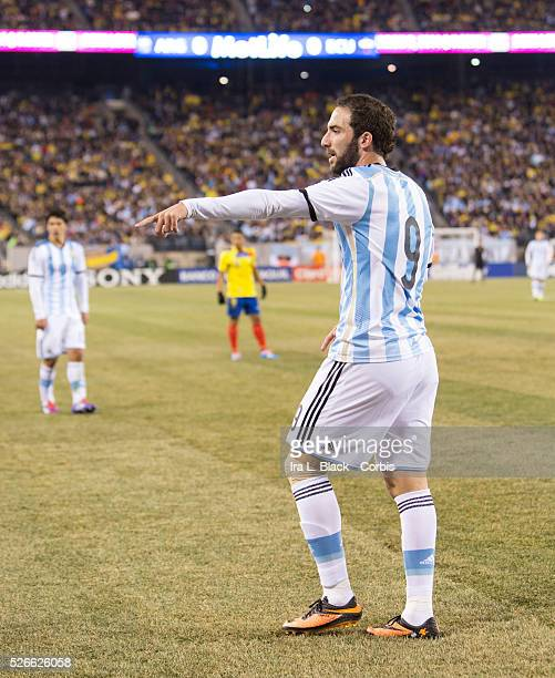 Argentina National Team player Gonzalo Higuain during the Gillette International Soccer Series match between Argentina and Ecuador The match ended...