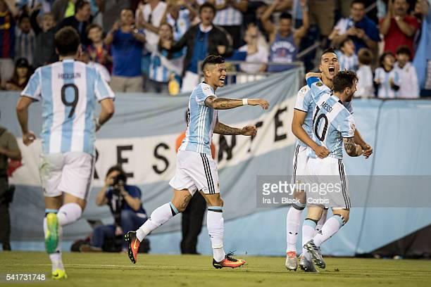 Argentina national team players Captain Lionel Messi Erik Lamela and Gonzalo Higuain celebrate goal by Lamela during the 2016 Copa America Centenario...