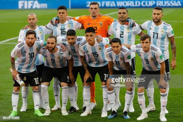 Argentina national team players pose for a photo during the 2018 FIFA World Cup Russia group D match between Nigeria and Argentina on June 26 2018 at...