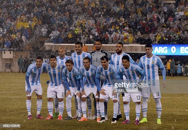 Argentina National Team pose for photographers before an international friendly match against Ecuador at MetLife Stadium in East Rutherford New...
