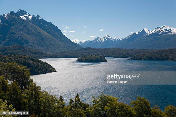 argentina, patagonia, bariloche, lake nahuel huapi and mountains - bariloche stock pictures, royalty-free photos & images