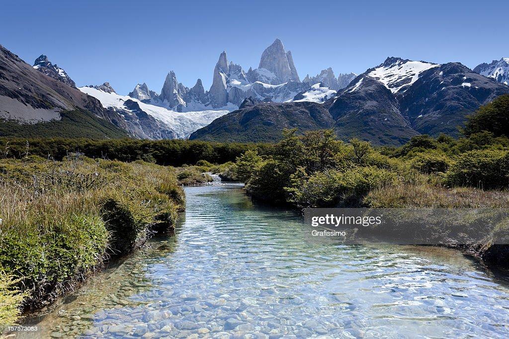 Argentinien Patagonien Blauer Himmel über Mount Fitz Roy : Stock-Foto