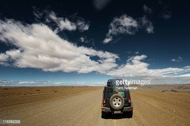Argentina, Patagonia, Jeep in lonely road