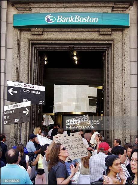 Argentina people protest againt the banks in downtown Buenos Aires Argentina on February 01 2002 People saying the banks are thieves and asking to...