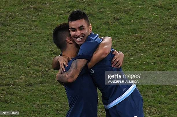 Argentina player Angel Correa celebrates after scoring against Algeria during their Rio 2016 Olympic Games men's First Round Group D football match...