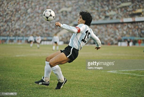 Argentina player Diego Maradona in action during a 1986 FIFA World Cup qualifying match against Peru at the National Stadium on June 23 1985 in Lima...